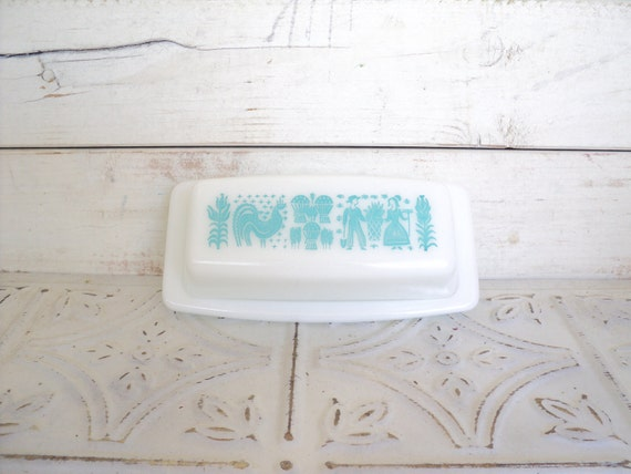 Pyrex Amish Butterprint Aqua White Butter Dish Vintage butterdish