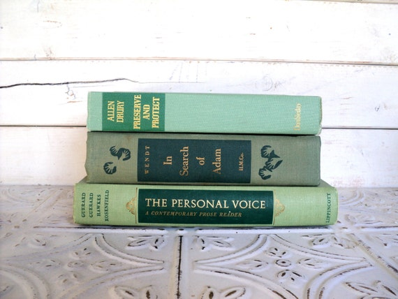 Green Books Instant Library Collection Decorative Books Photography Props Seafoam, Mint, Emereld, Shades of Green