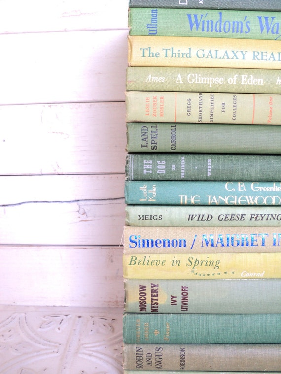 Green Books Instant Library Collection Decorative Books Photography Props Shades of Pastel Green
