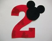 DIY No-Sew - Mickey Mouse Applique and Number - Iron On - Chose Your Number
