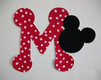 DIY No-Sew - Mickey Mouse Applique and Letter - Iron On - Chose Your Letter