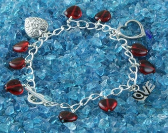 Red and Silver Heart Charms Handmade Anklet