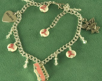 Silver Breast Cancer Awareness Journey Anklet Handmade