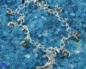 Handmade Moons and Stars Silver Pewter Charm Anklet