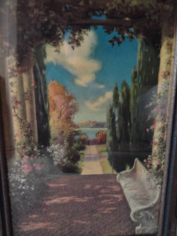 Original Rose Bower Signed Print by R.A. Fox in Art Deco Frame