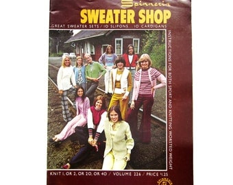 Craft Book, Spinnerin Knitting Sweater Shop, Vintage Knitting Book