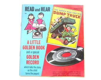 Vintage Book and Record, The Happy Man and His Dump Truck, Childrens