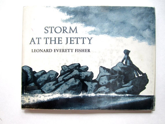 Signed Leonard Everett Fisher, Storm at the Jetty, Vintage Children's Book