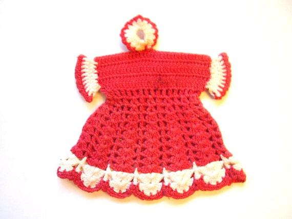 Vintage Pot Holder, Hand Crocheted, Red