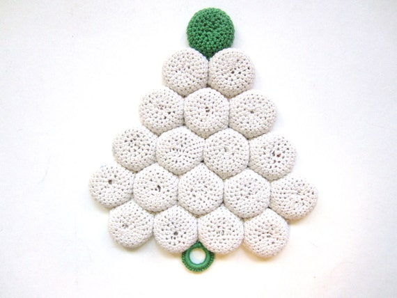 Vintage Hotpad, Handmade, Green and White