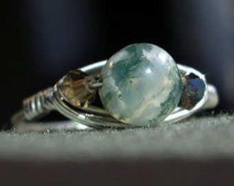 Wrapped Sterling Silver & Green Agate Ring