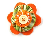 Hair Barrette - Orange and White