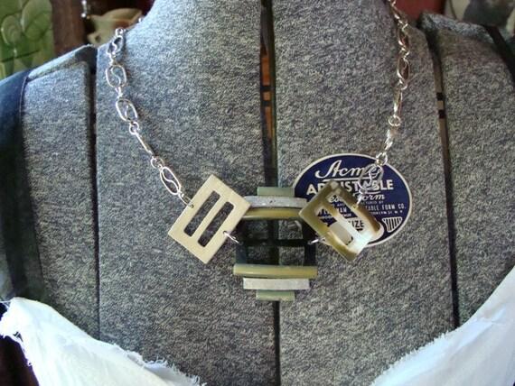 Sale Buckle Me Back - Vintage Bakelite Buckles Redone into Fab Necklace Set - ReaganJuel