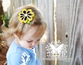 Sculpture Clippies' Megan Daisy Flower Bow. Spring Summer Flower Sculpture Ribbon Sunflower Clippie.