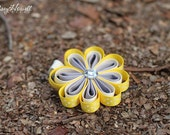 Sculpture Clippies' Megan Daisy Flower Bow. Yellow Gray White Spring Summer Flower Sculpture Ribbon Sunflower Clippie.