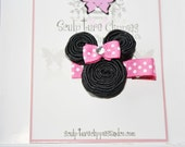 Hot Pink Inspired Solid Minnie Mouse Ribbon Sculpture Bows. Free Ship Promo
