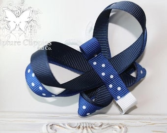 Navy Blue Butterfly Bow. Butterfly Sculpture Ribbon Clippie. Free Ship Promo.