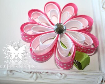 Sculpture Clippies Girls Megan Hot Pink Flower Bow.  Infant Toddler Teens Megan Sculpture Ribbon 3 Layer Flower Clippie