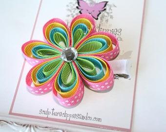 Sculpture Clippies Girls Megan Caribbean Flower Bow.   Spring Summer 4 Layer Flower Clippie
