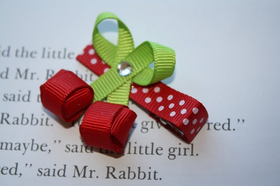 Boutique Red Cherry Ribbon Sculpture Hair Clip.  Free Ship Promo.