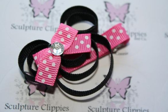 Red or Pink Inspired Minnie Mouse Ribbon Sculpture Bows. Free Ship Promo.