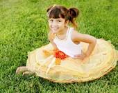 Yellow orange lime citrus tiered tutu skirt, embellished shirt, accessories