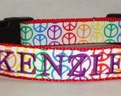Colorful Dog Collar - Personalized Dog Collar - Peace Signs