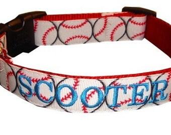 Monogrammed Dog Collar- Baseball Dog Collar