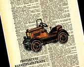 Vintage Antique Yellow Car Print On Dictionary Page 8X10 Picture Wall Art