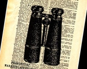 Vintage Antique Binoculars Print On Dictionary Page 8X10 Picture Wall Art