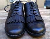 RESERVED LISTING Vintage Size 8 Black Leather Oxford Heels Pumps / Fringe Oxfords