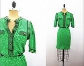 1960s kelly green black polka dot shift dress M
