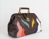 leather doctor bag / 80s wavy patchwork hinge bag