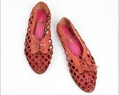SALE open weave pink leather oxfords 7