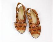 woven leather huaraches 8 / brown & rust sling back sandals / Egon Von Furstenberg