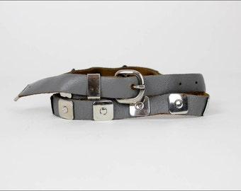 gray leather studded skinny belt S/M