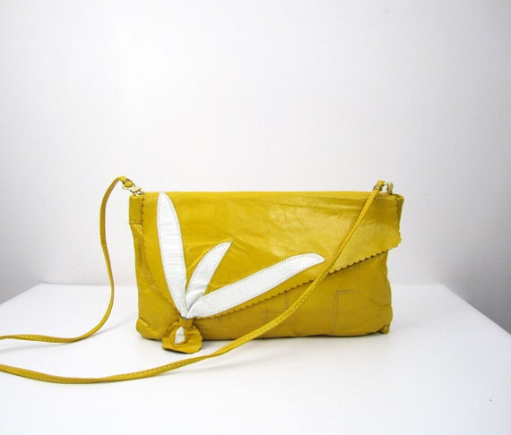sunshine yellow leather clutch / convertible envelope purse