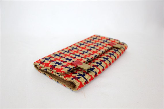 1960s fabric wallet / houndstooth weave & leather