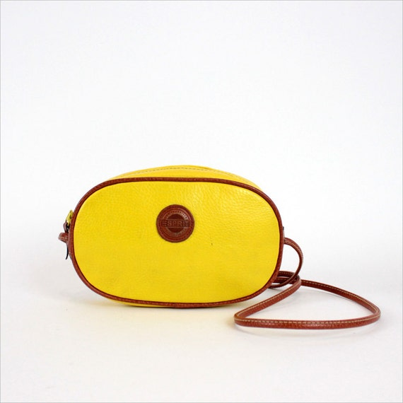 esprit purse / lemon yellow faux leather pouch / cross body bag