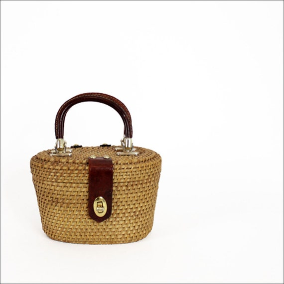 basket box bag / wicker & leather structured purse
