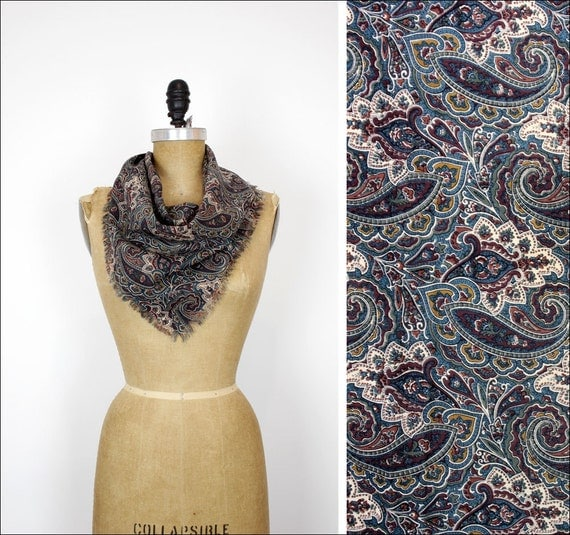 paisley cotton scarf / wine & olive print