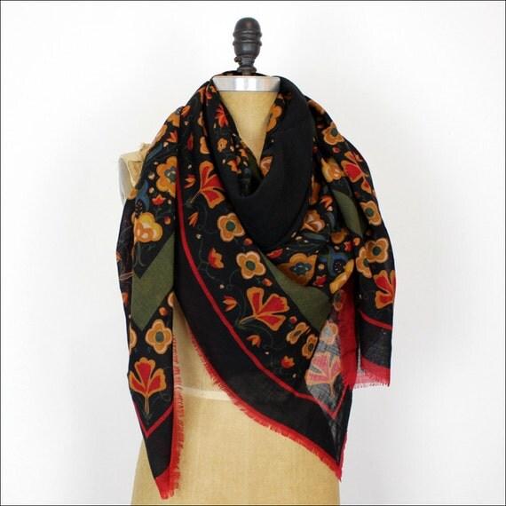 folk printed scarf / Scandinavian floral print / huge black wool wrap