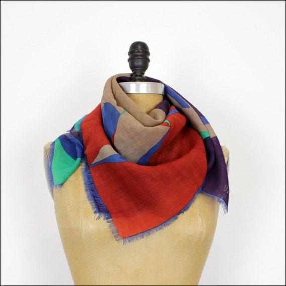 Vera wool abstract scarf / jewel tone print fringe scarf