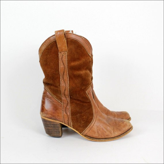 HOLD rust leather boots 9 / western suede heel boots