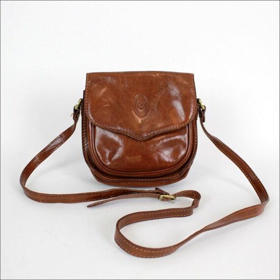 whiskey brown leather cross body saddle bag / Italian