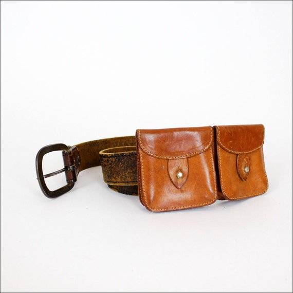 leather belt bag conductor change purse to wear on by
