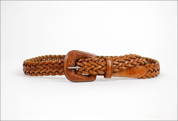 braided leather belt S/M chestnut brown / tooled buckle