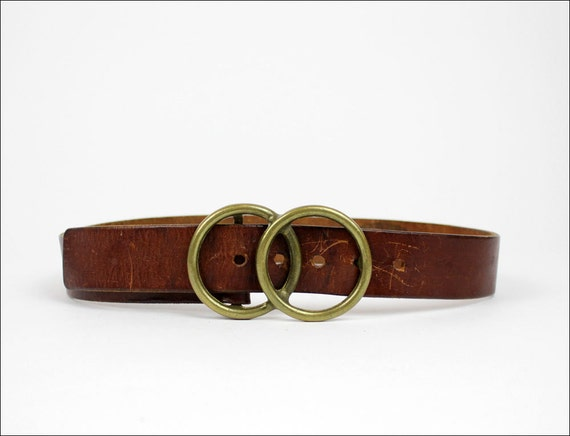 1970s infinity buckle saddle leather belt S/M