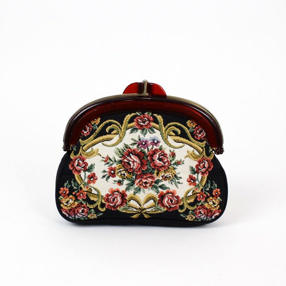 tapestry rose clutch / hinged floral fabric double pouch