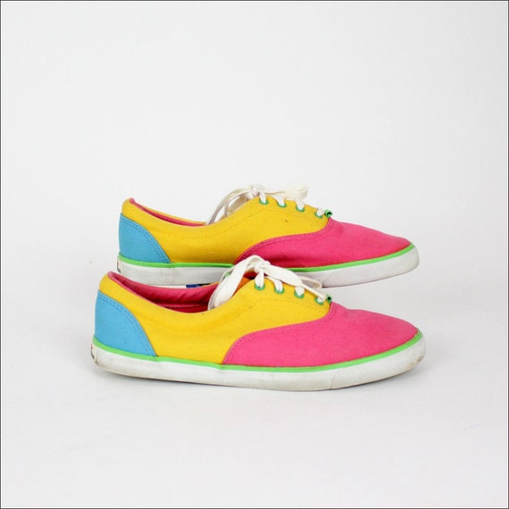 neon canvas sneakers 8 1/2 color block Liz Claiborne canvas shoes